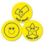 Aufkleber mit gelben Smileys und Zecken, 38 mm, 10 Bögen